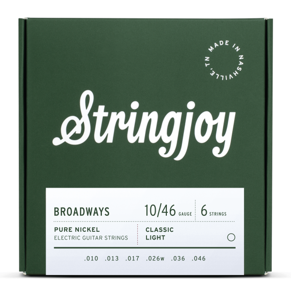 Stringjoy Broadways | Classic Light Gauge (10-46) Pure Nickel Electric Guitar Strings