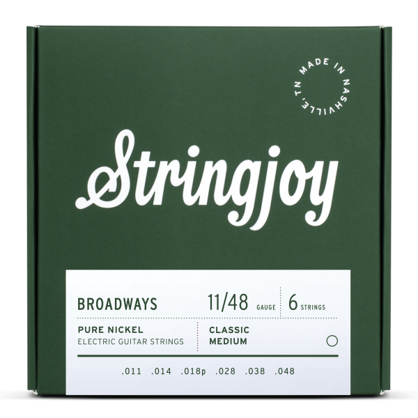 Stringjoy Broadways | Classic Medium Gauge (11-48) Pure Nickel Electric Guitar Strings