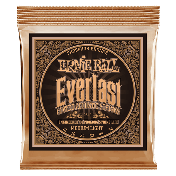 Ernie Ball Everlast Medium Light Coated Phosphor Bronze Acoustic Guitar Strings - 12-54 Gauge