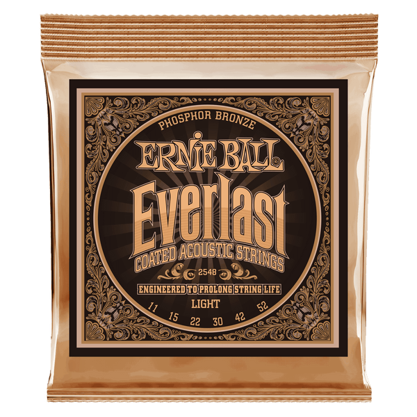 Ernie Ball Everlast Light Coated Phosphor Bronze Acoustic Guitar Strings - 11-52 Gauge