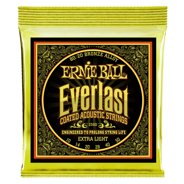 Ernie Ball Everlast Extra Light Coated 80/20 Bronze Acoustic - 10-50 Gauge