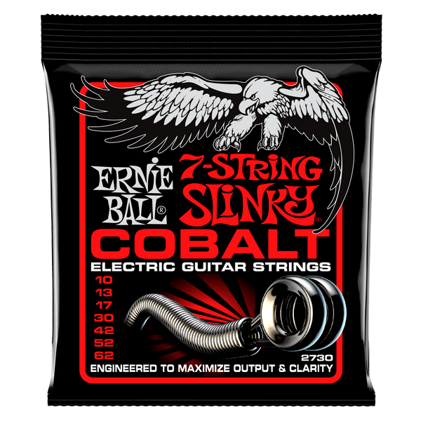 Ernie Ball Skinny Top Heavy Bottom Slinky Cobalt 7-String Electric Guitar Strings - 10-62 Gauge