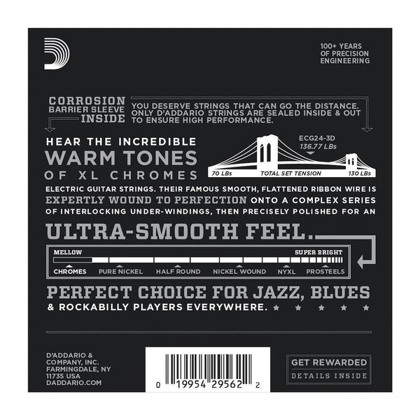 D'Addario ECG24-3D Chromes Flat Wound Electric Guitar Strings, Jazz Light, 11-50, 3 Sets