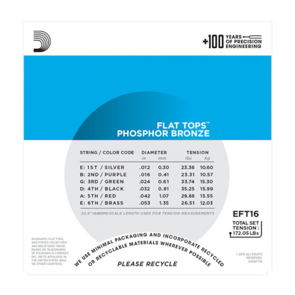 D'Addario EFT16 Phosphor Bronze Flat Tops, Light, 12-53