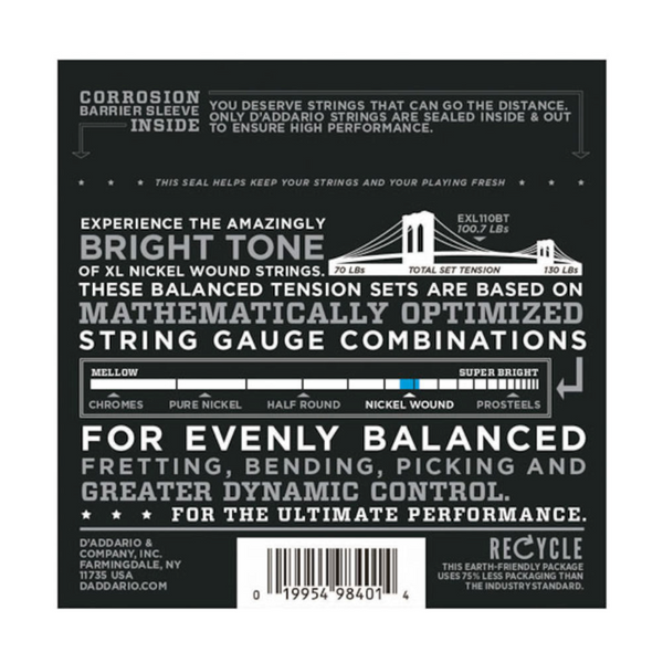 D'Addario EXL110BT Nickel Wound Electric Guitar Strings, Balanced Tension Regular Light, 10-46