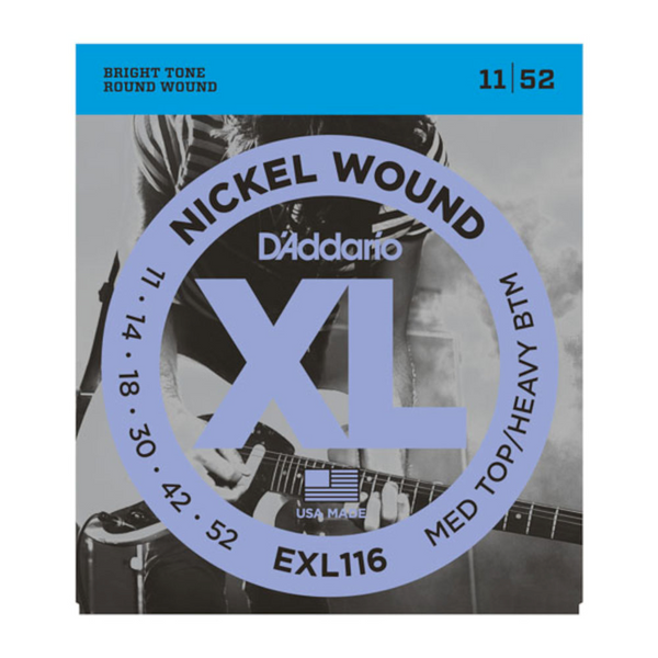 D'Addario EXL116-3D Nickel Wound Electric Guitar Strings, Medium Top/Heavy Bottom, 11-52, 3 Sets
