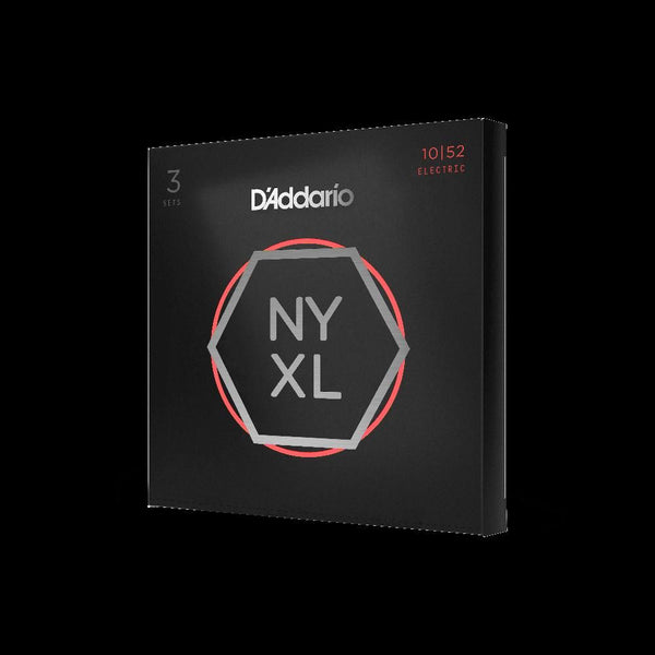 D'Addario NYXL1052-3P Nickel Wound Electric Guitar Strings, Light Top / Heavy Bottom, 10-52, 3 Sets