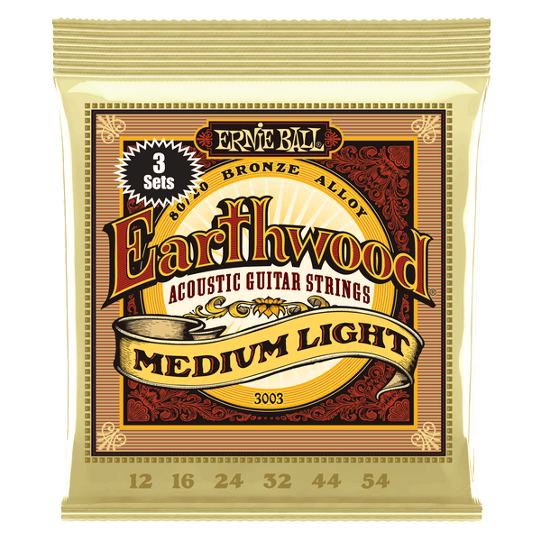 Ernie Ball Earthwood Medium Light 80/20 Bronze Acoustic Guitar Strings 3 Pack - 12-54 Gauge