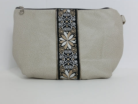 Leather Encore Clutch Cream Ribbon Front