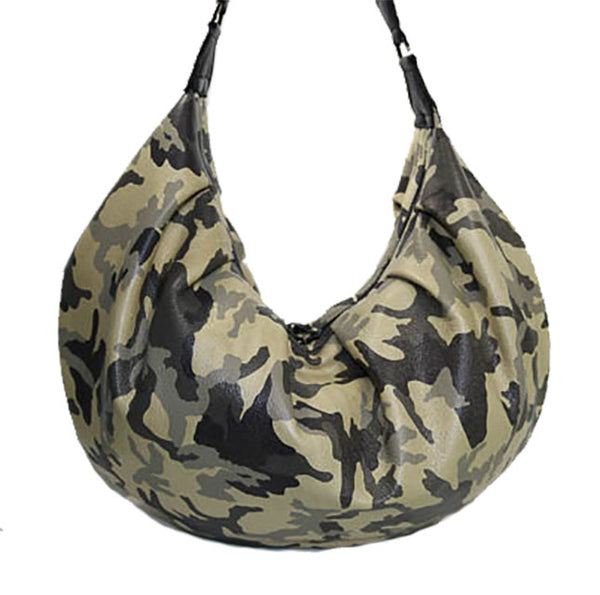 Camouflage Leather Hobo Slouchy Bag