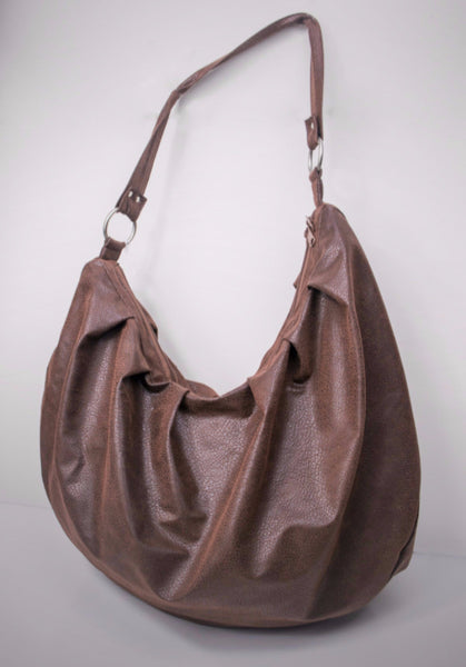 chocolate brown suede slouchy hobo bag