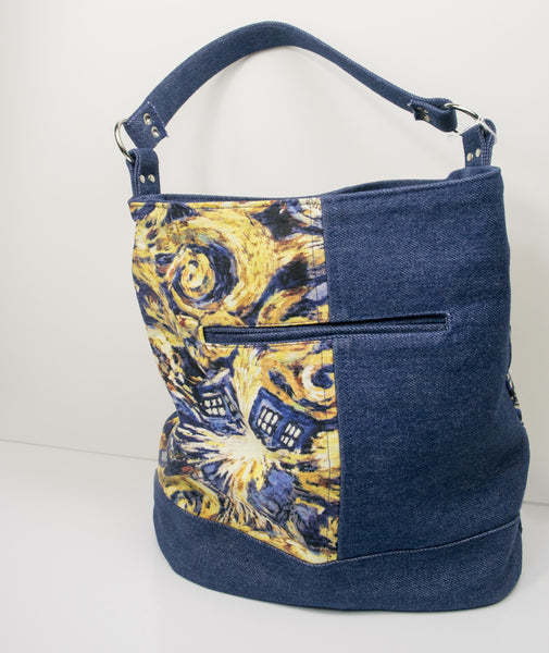 Doctor Who and Denim Bucket Bag - Ready to Ship