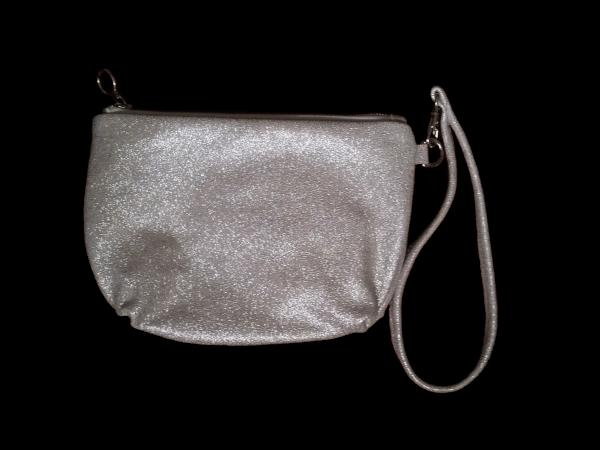 Silver Glitter Leather Clutch Detachable Wrist Strap