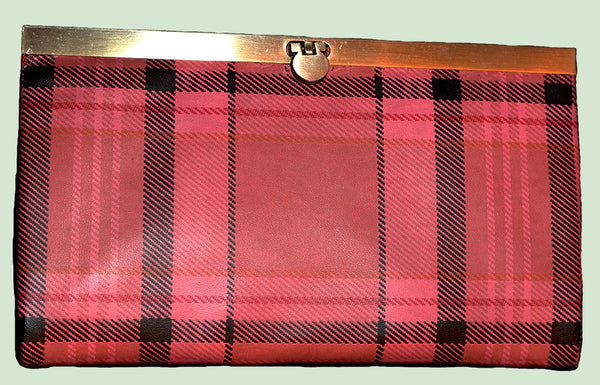 Pink Plaid Leather Ladies Slim Wallet with Metal Clasp