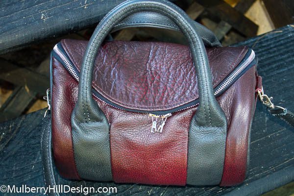Leather custom made barrel bag front view