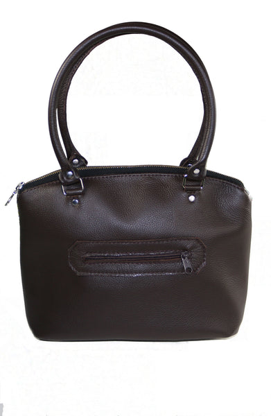 Chocolate Brown Genuine Leather Domed Satchel Bag, Shoulder Bag