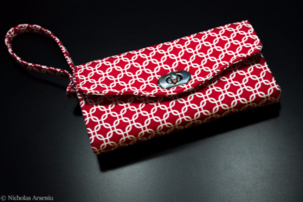 NCW Accordion Wallet Red Lattice Print with Wristlet Strap by Mulberry Hill Design