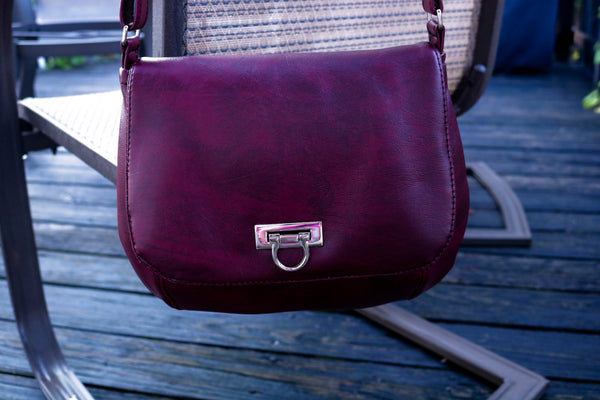 Saddle Bag handcrafted burgundy vinyl front flap adjustable strap