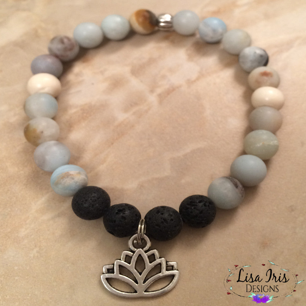 Multi-colored Amazonite Lotus Flower LAVAroma™ Aromatherapy Bracelet