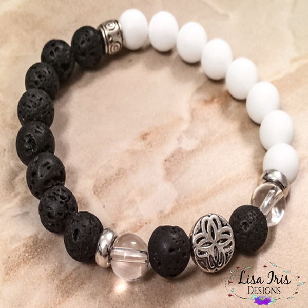 Alabaster Black and White Pewter Cluster Bead LAVAroma™ Aromatherapy Bracelet