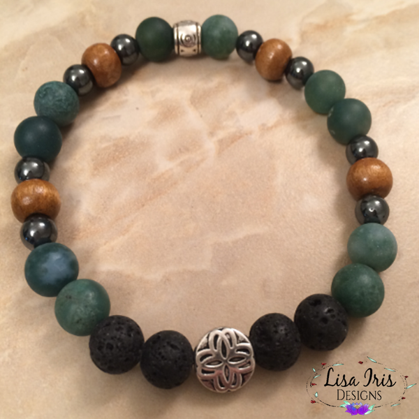 Moss Agate Pewter Cluster Bead LAVAroma™ Aromatherapy Bracelet