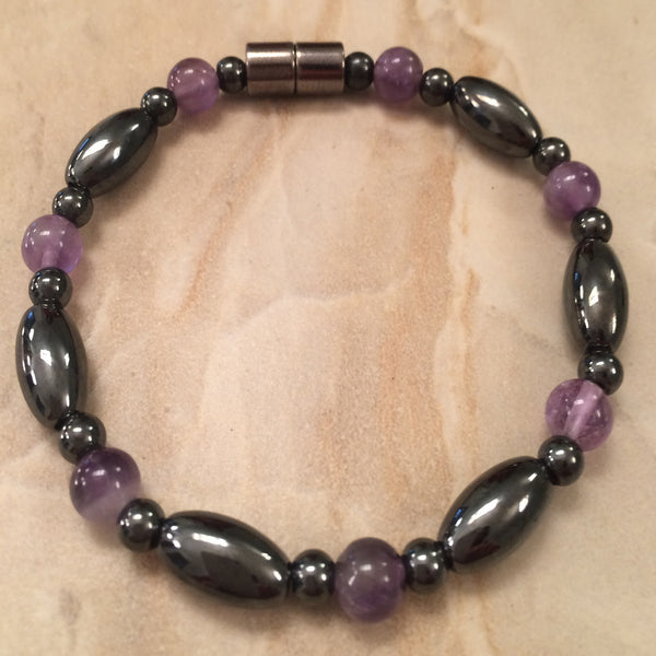 Magnetic Bracelet of Hematite and Amethyst
