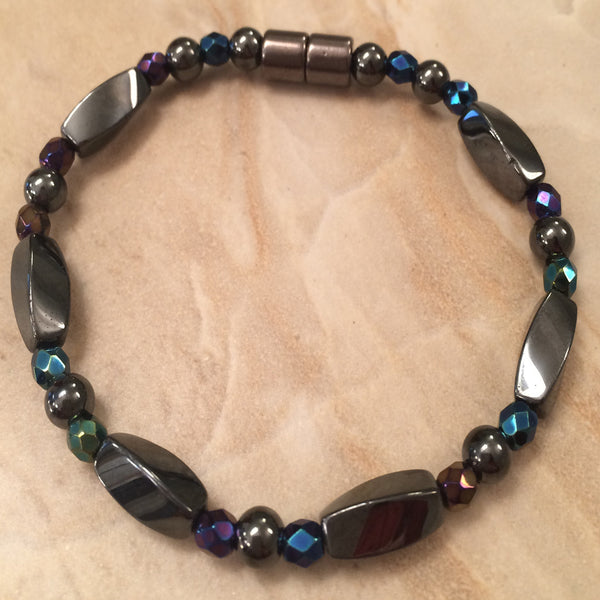 Magnetic Hematite Twisted Bar Bracelet with fire-polished Czech Blue Iris Crystals