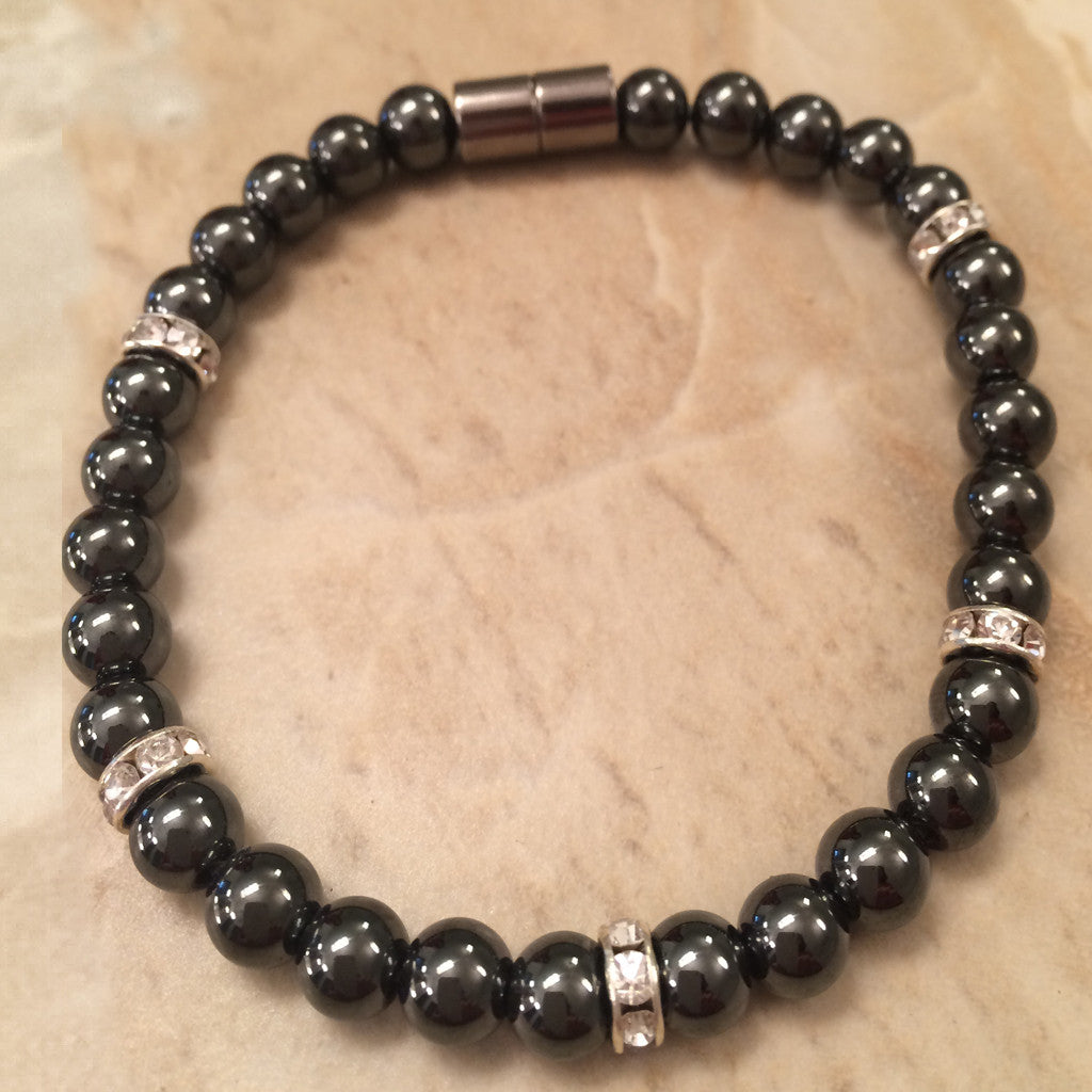 Magnetic Bracelet with 6mm black round hematite beads and Crystal Roundels