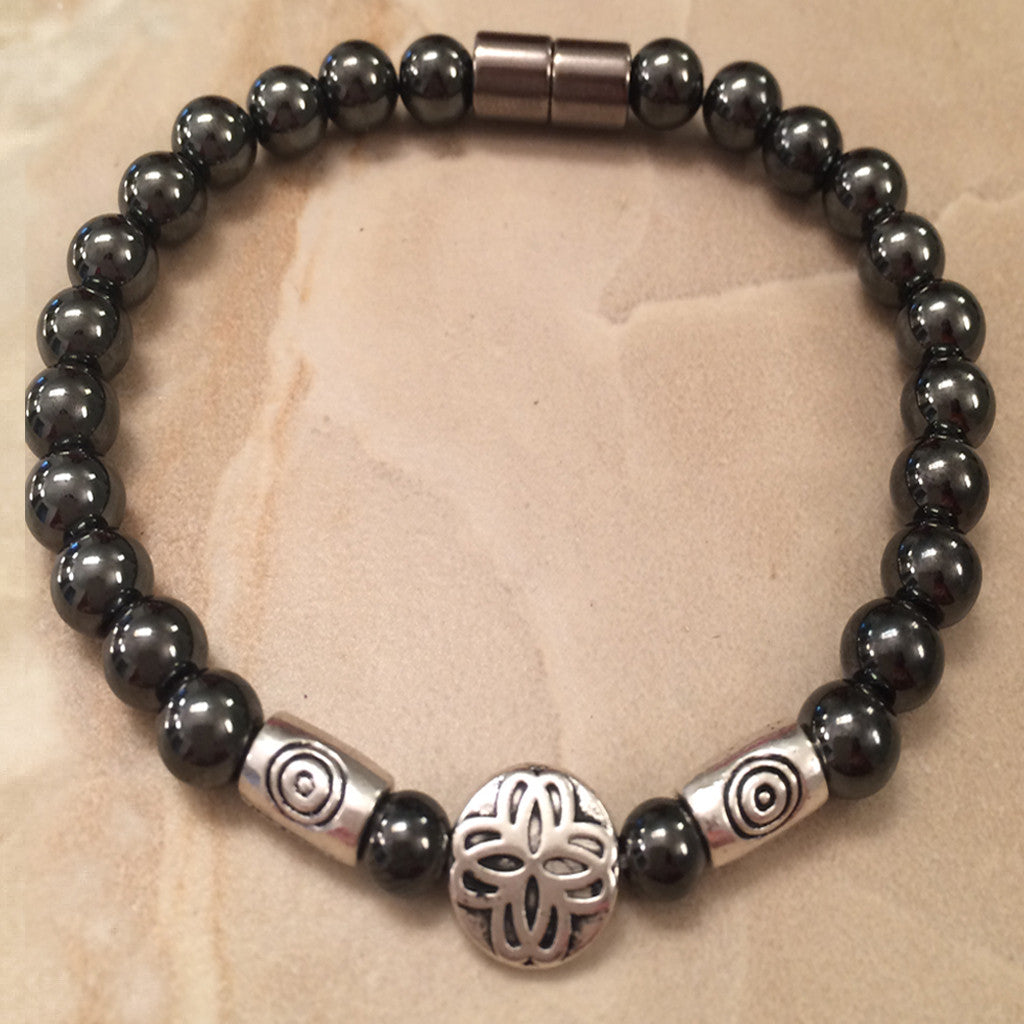 Magnetic Hematite Bracelet with Pewter Round Center and Tubular Beads