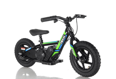 "PRE ORDER JULY - Revvi 12"" Kids Electric Bike - Green - MotoX1-Motocross ATV"