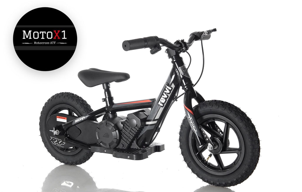 "PRE ORDER MID AUGUST - Revvi 12"" Kids Electric Bike - Black - MotoX1 Motocross ATV"