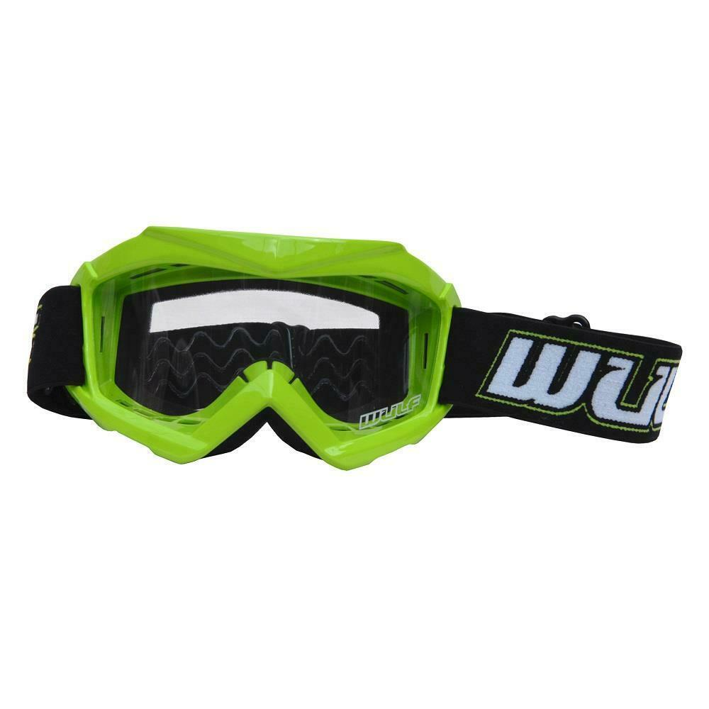 GREEN - Wulfsport Cub Tech Motocross Goggles Kids Youth MX Off Road Dirt Bike Goggle - MotoX1-Motocross ATV