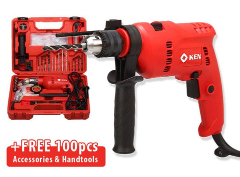 Ken 6913S Hammer Drill with 100pcs Accessories Kit Set