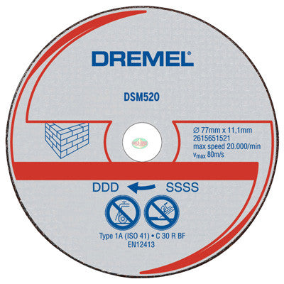 Dremel DSM520C RW Masonry Cut-Off Wheel, 3 pcs - goldapextools