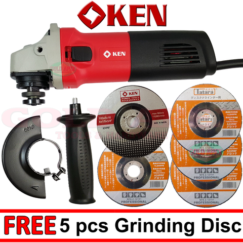 Ken 9917B Angle Grinder w/ 5pcs of Grinding Disc - goldapextools