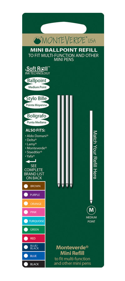 Monteverde USA Soft Roll Mini Ballpoint Refill D132 – Medium Point Black Ink - Skribr - 1