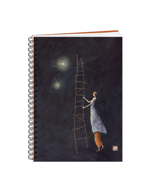 Spiral-bound Notebook - Gaëlle Ladder to the Moon - 15cm x 21cm - Skribr
