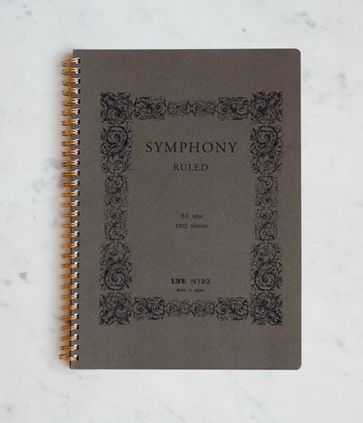 LIFE Stationery Japanese Paper 'Symphony' Notebook - A4 - Ruled - Grey Cover - Skribr - 1