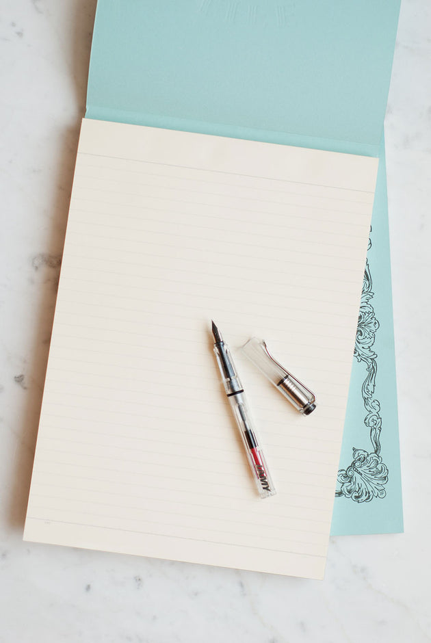 LIFE Stationery Japanese Paper 'Noble Report' Notepad - A4 - Ruled - Light Blue Cover | Skribr