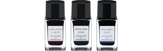 Pilot Iroshizuku Ink Bottle Set B – Morning Glory, Deep Sea & Crimson Glory Vine - Skribr