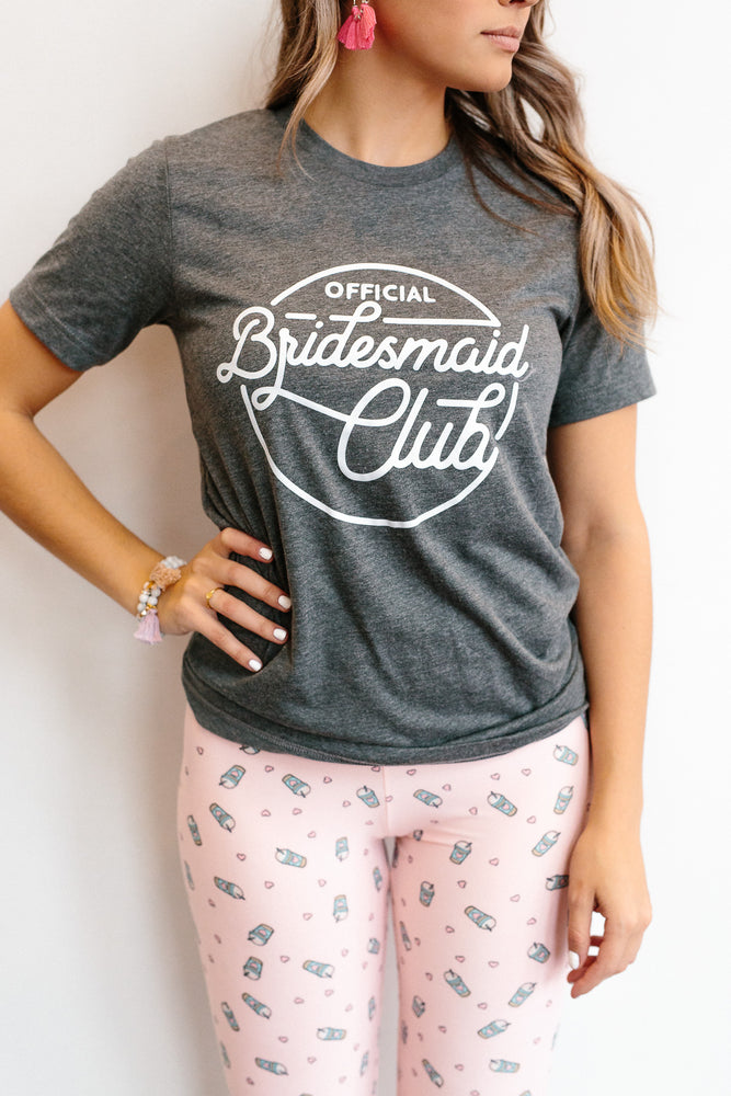 Official Bridesmaid Club T-Shirt--HEATHER PEACH, WHITE PRINT
