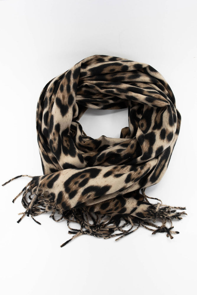 Park and Buzz cozy scarf leopard print with fringes. Tan brown and black. Big scarf