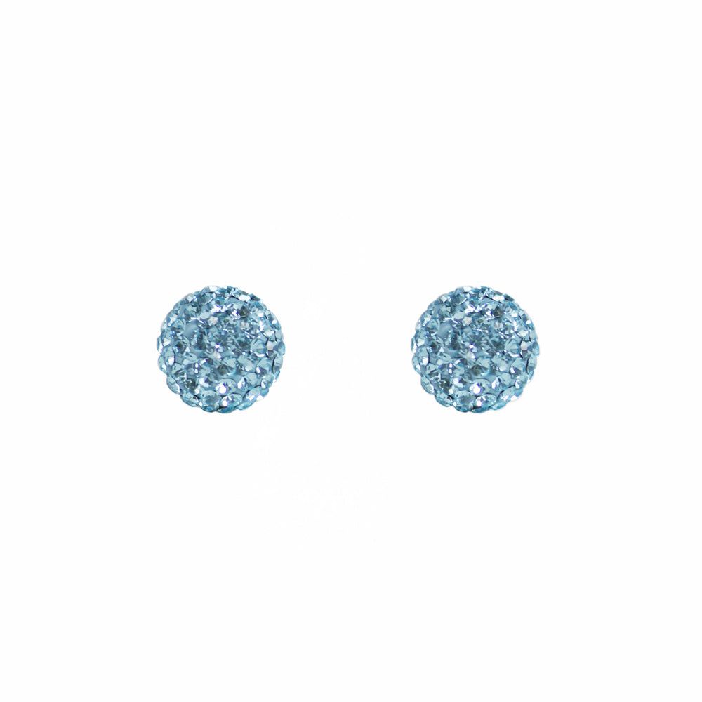 Park and Buzz radiance stud. Sparkle ball earrings. Hillberg and Berk. Canadian Brand. Glitter ball earrings. Aquamarine blue sparkle earrings jewelry jewellery. Valentines gift.