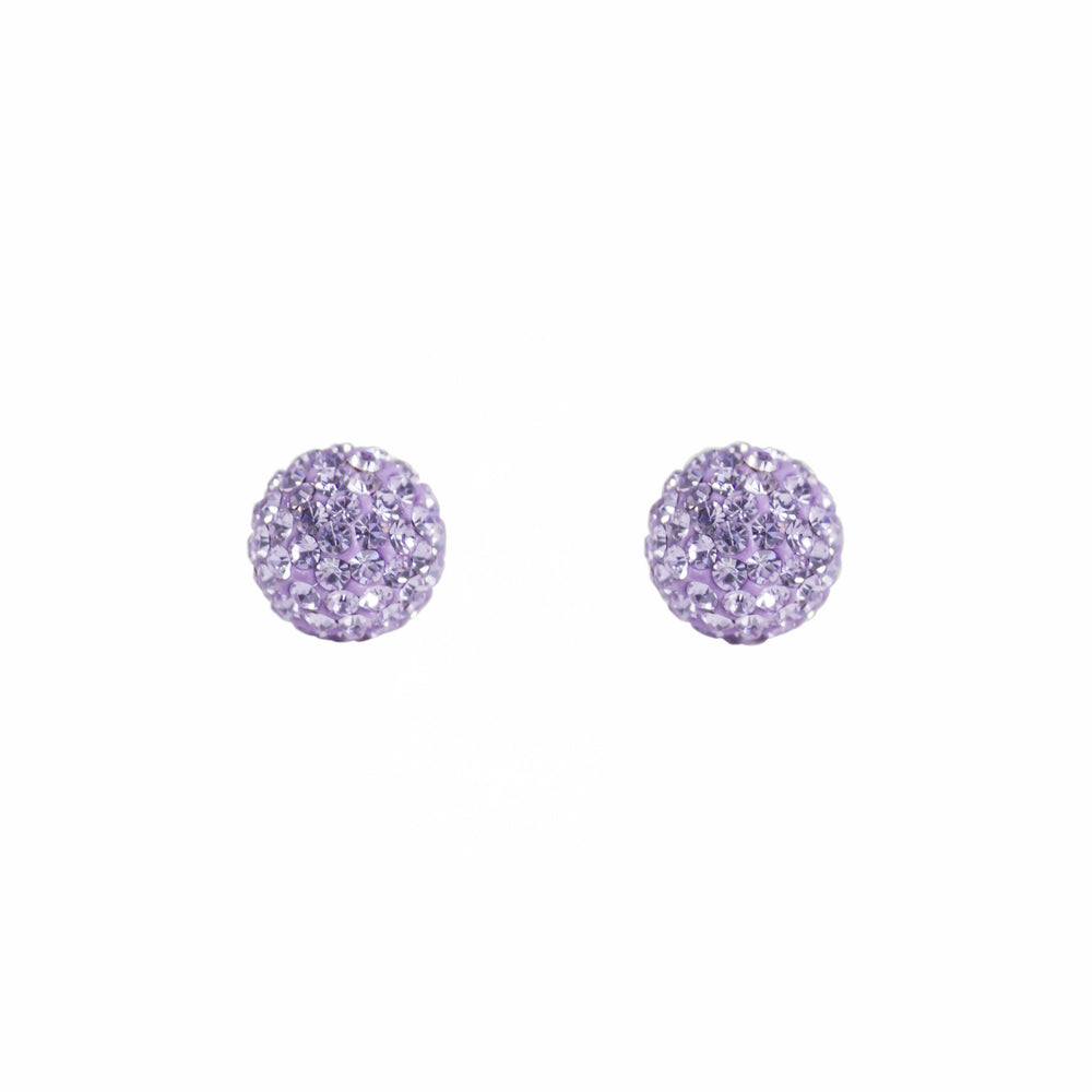 Park and Buzz radiance stud. Sparkle ball earrings. Hillberg and Berk. Canadian Brand. Glitter ball earrings. Lilac purple sparkle earrings jewelry jewellery