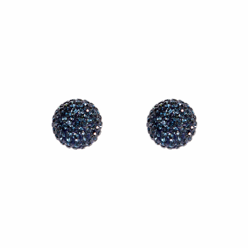 Park and Buzz radiance stud. Sparkle ball earrings. Hillberg and Berk. Canadian Brand. Glitter ball earrings. Navy blue sparkle earrings jewelry jewellery. Valentines gift.