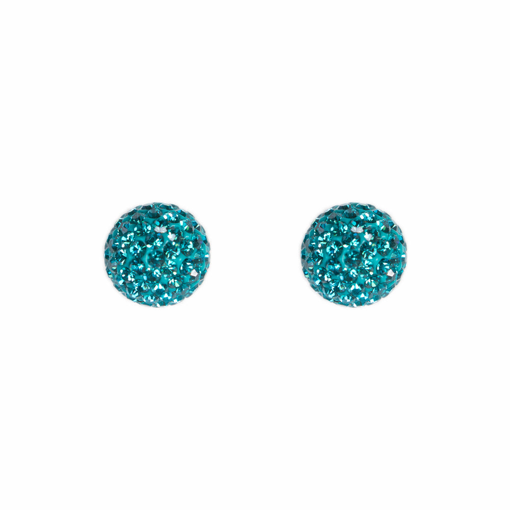 Park and Buzz radiance stud. Sparkle ball earrings. Hillberg and Berk. Canadian Brand. Glitter ball earrings.Teal blue green sparkle earrings jewelry jewellery. Valentines gift.