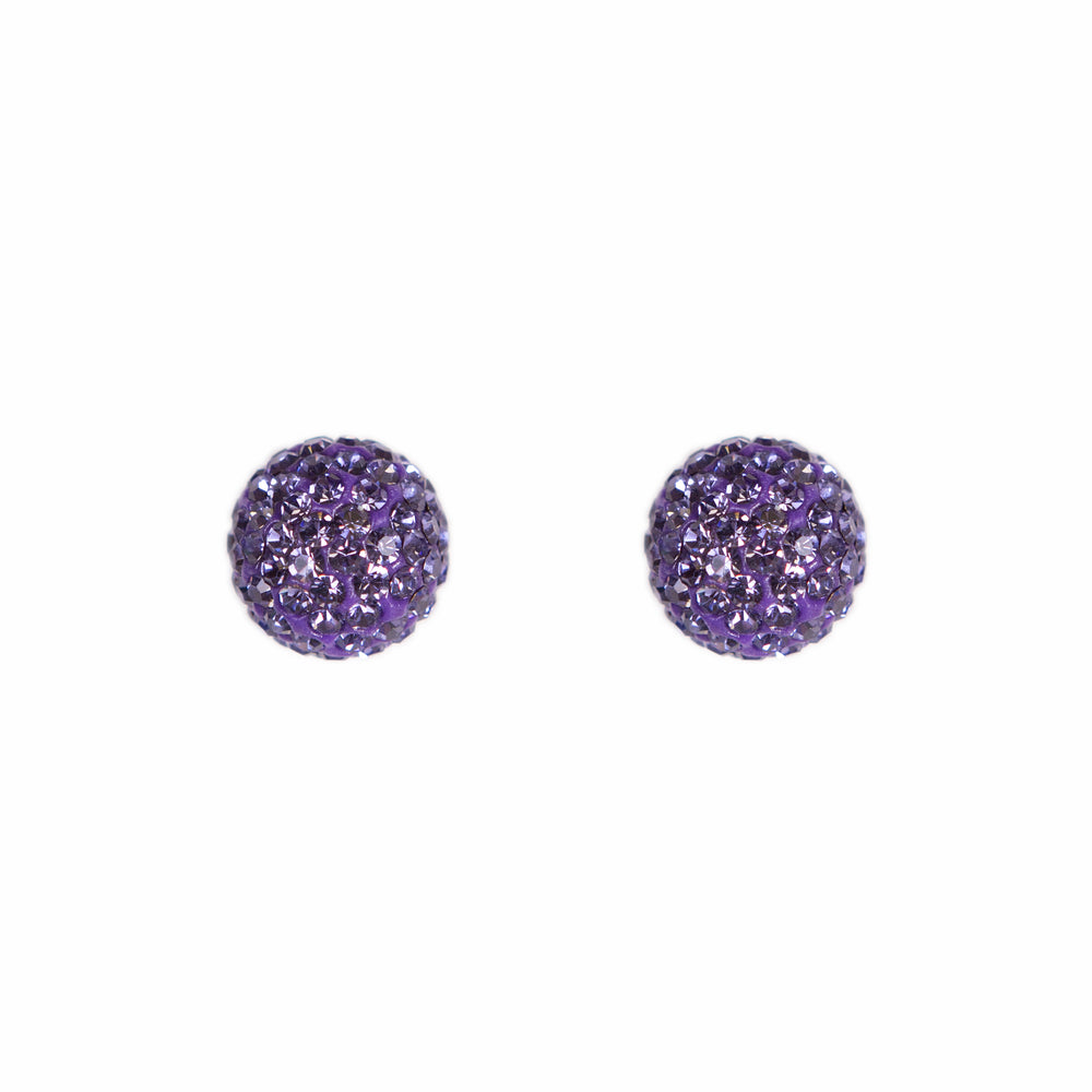 Park and Buzz radiance stud. Sparkle ball earrings. Hillberg and Berk. Canadian Brand. Glitter ball earrings. Grape purple sparkle earrings jewelry jewellery. Valentines gift.