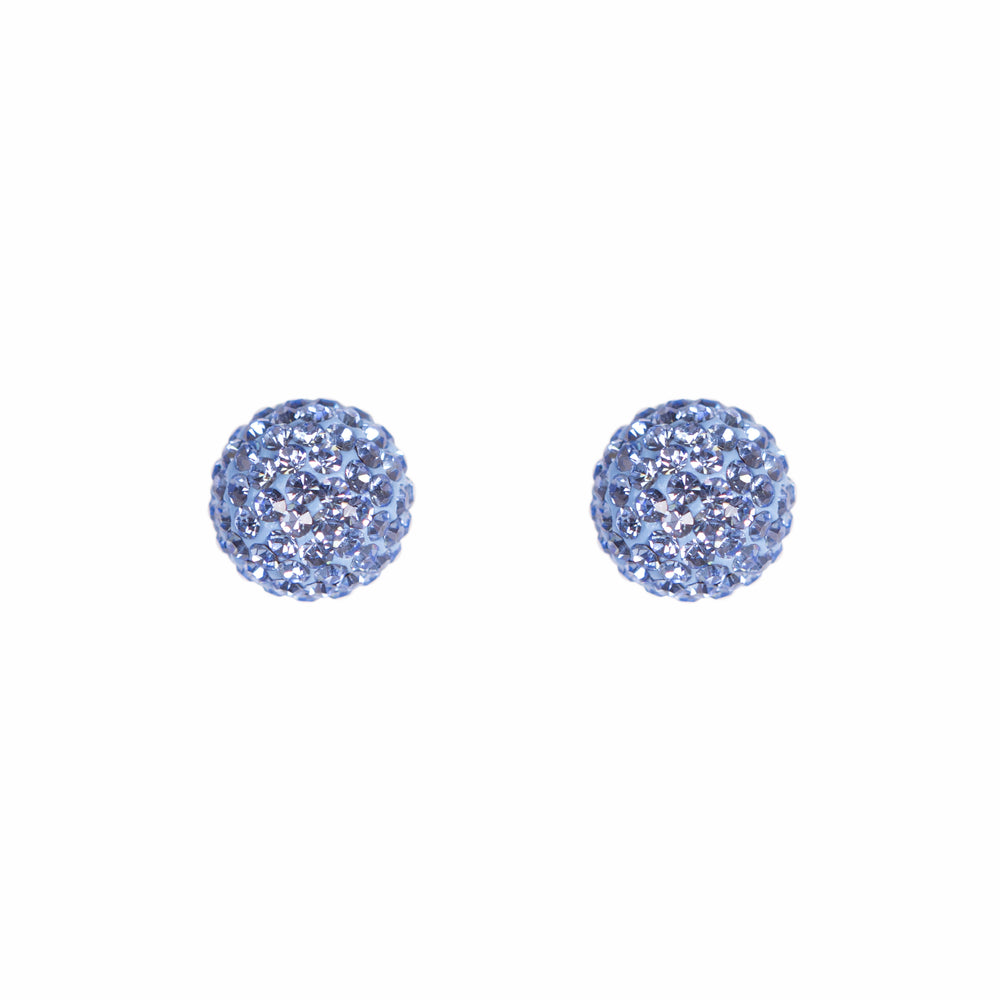 Park and Buzz radiance stud. Sparkle ball earrings. Hillberg and Berk. Canadian Brand. Glitter ball earrings. Denim blue sparkle earrings jewelry jewellery