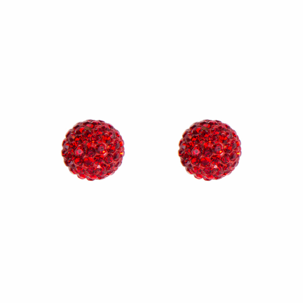 Park and Buzz radiance stud. Sparkle ball earrings. Hillberg and Berk. Canadian Brand. Glitter ball earrings. Red sparkle earrings jewelry jewellery. Valentines gift.