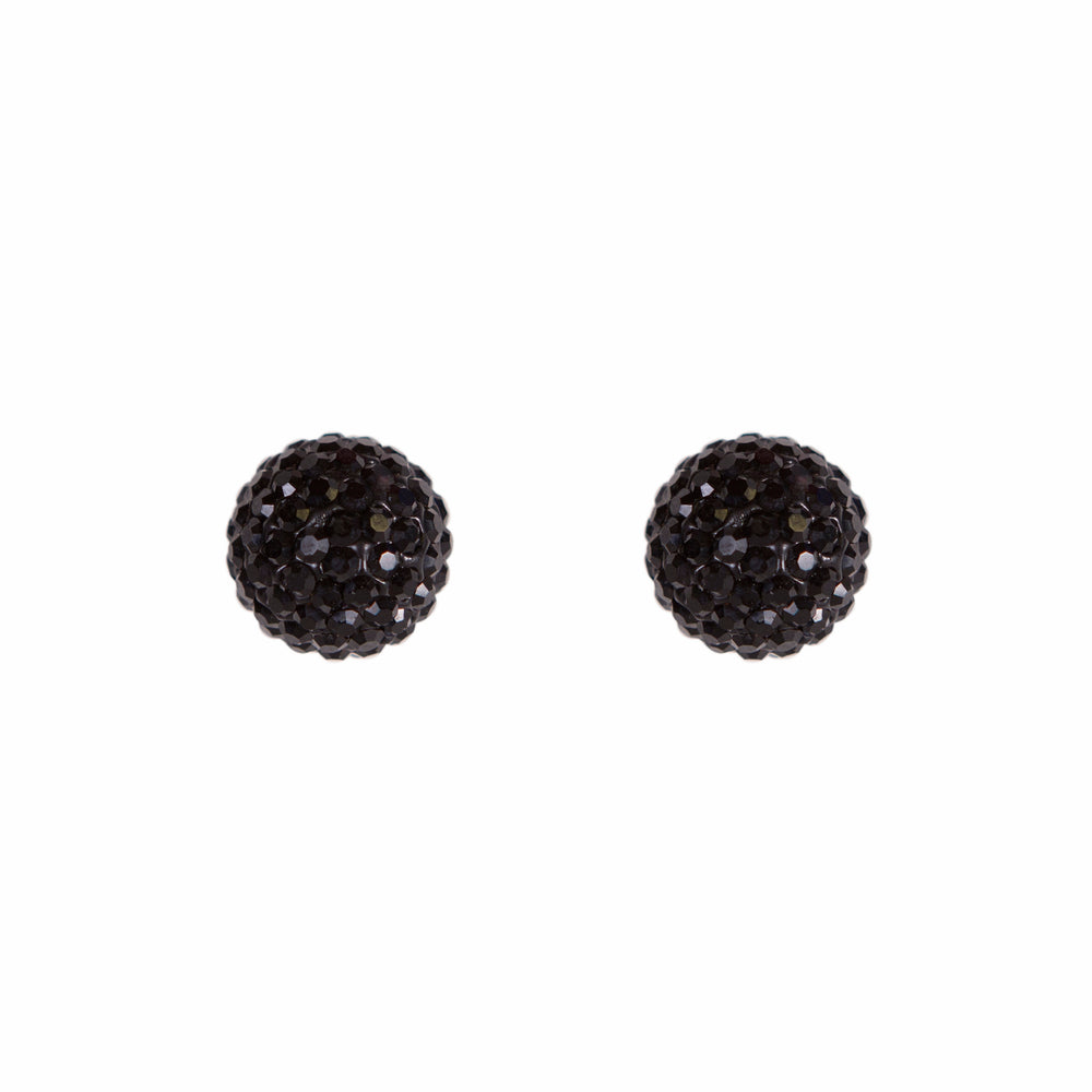 Park and Buzz radiance stud. Sparkle ball earrings. Hillberg and Berk. Canadian Brand. Glitter ball earrings. Black sparkle earrings jewelry jewellery